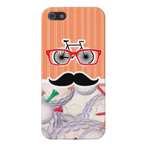 Funny Random Mustache, Golf Balls & Tees iPhone 5 Case
