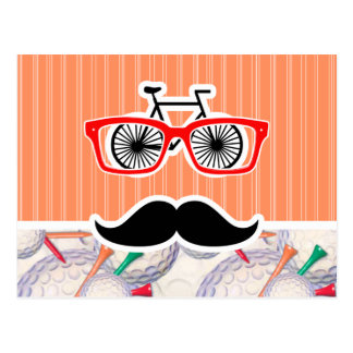 Funny Random Mustache, Golf Balls & Tees Postcards