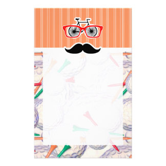 Funny Random Mustache, Golf Balls & Tees Personalized Stationery