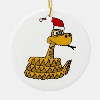 Funny Rattlesnake in Santa Hat Christmas Art Christmas Ornament