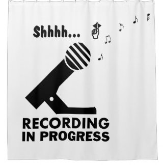 "funny ""recording in progress"" shower curtain"