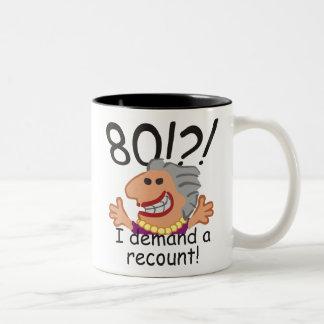Funny Recount 80th Birthday Two-Tone Coffee Mug