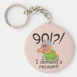 Funny Recount 90th Birthday Basic Round Button Key Ring