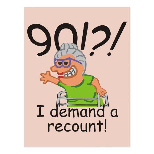 Funny Recount 90th Birthday Postcard