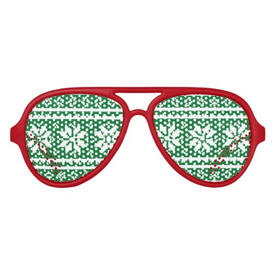 Funny red and green Ugly Christmas Sweater Aviator