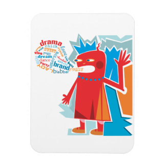 Funny Red Blabber Character Premium Magnet