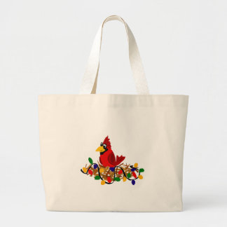Funny Red Cardinal in Nest with Christmas Lights Jumbo Tote Bag