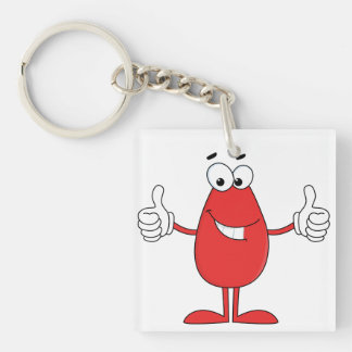 Funny Red Cartoon Double-Sided Square Acrylic Keychain