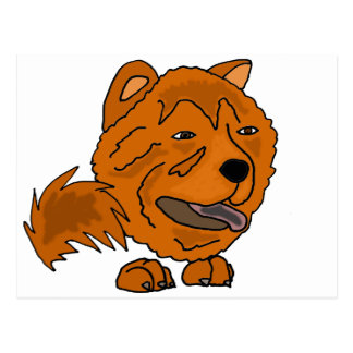Funny Red Chow Chow Dog Art Postcard