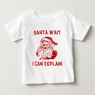 Funny Red Christmas Santa wait I can explain. T Shirts