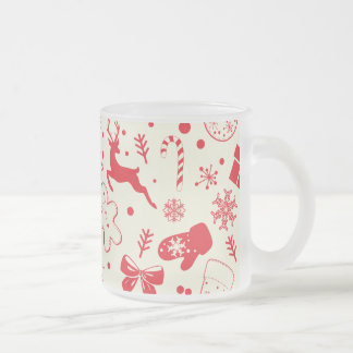 Funny Red Christmassy Pattern Frosted Glass Coffee Mug