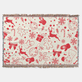 Funny Red Christmassy Pattern Throw Blanket