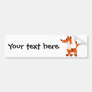 Funny Red Fox Art Bumper Sticker