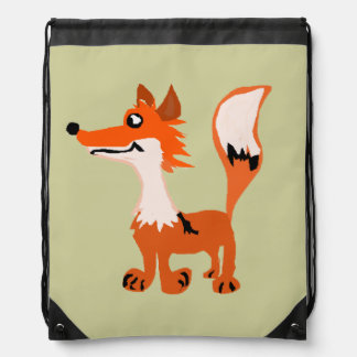 Funny Red Fox Art Drawstring Bag