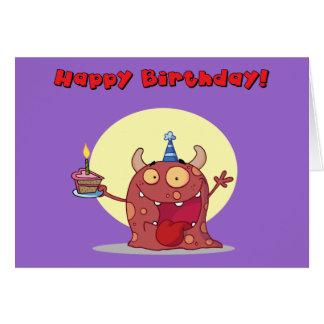Funny Red Happy Birthday Monster With Cake Greeting Card