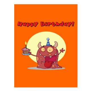 Funny Red Happy Birthday Monster With Cake Postcard