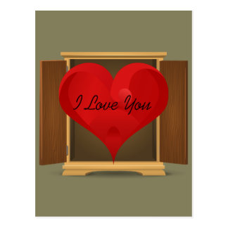 Funny Red Heart I Love You coming out of closet Postcard