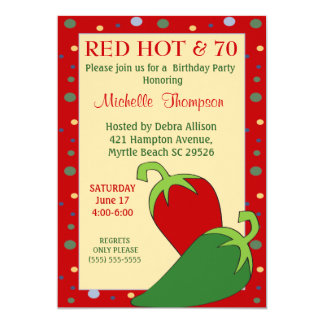 Funny Red Hot 70th  Birthday Invitations
