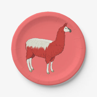 Funny Red Llama Paper Plate