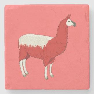 Funny Red Llama Stone Beverage Coaster