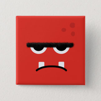 Funny Red Monster Face 15 Cm Square Badge