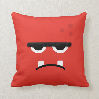 Funny Red Monster Face Cushion