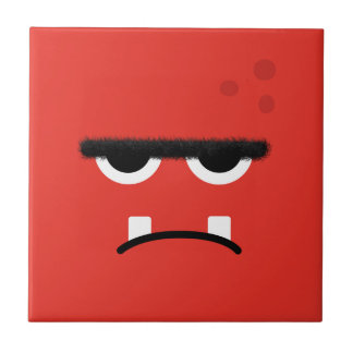 Funny Red Monster Face Tile