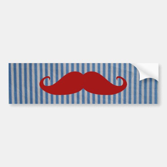Funny Red Moustache And Blue White Stripes Bumper Sticker