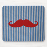 Funny Red Moustache And Blue White Stripes Mouse Mat
