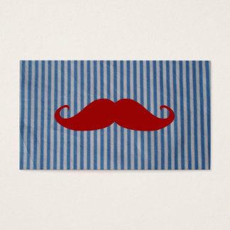 Funny Red Mustache And Blue White Stripes Business Card