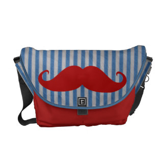 Funny Red Mustache And Blue White Stripes Messenger Bag