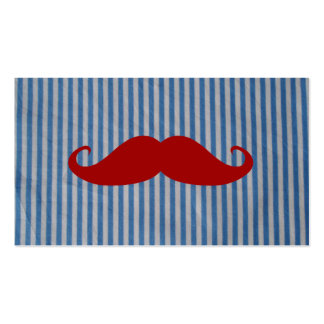 Funny Red Mustache And Blue White Stripes Pack Of Standard Business Cards