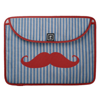Funny Red Mustache And Blue White Stripes Sleeve For MacBooks