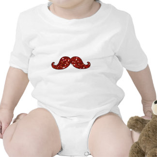 FUNNY RED MUSTACHE PRINTED GLITTER TSHIRTS