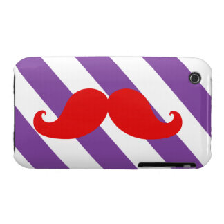 Funny Red Mustache Purple Stripes iPhone 3 Case