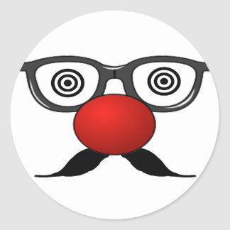 Funny Red Nose weird  eyes glasses moustache Round Sticker