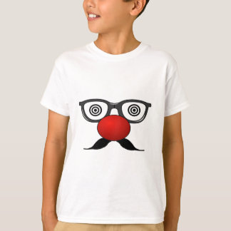 Funny Red Nose weird  eyes glasses moustache Shirt