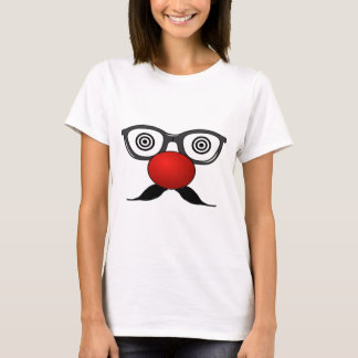 Funny Red Nose weird  eyes glasses moustache T-Shirt