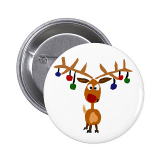 Funny Red Nosed reindeer Christmas Art 6 Cm Round Badge