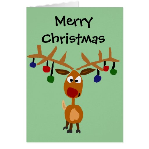 Funny red nosed reindeer christmas art greeting card zazzle for Funny reindeer christmas cards