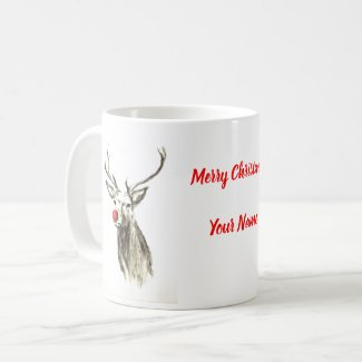 Funny Red Nosed Reindeer Merry Christmas