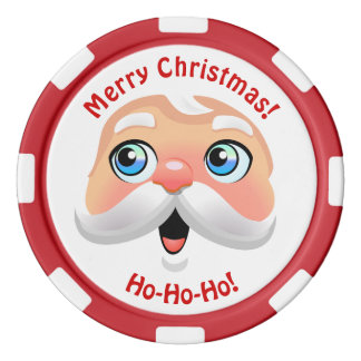 Funny Red Nosed Santa Claus Poker Chips Set