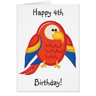 Funny Red Parrot on White Card