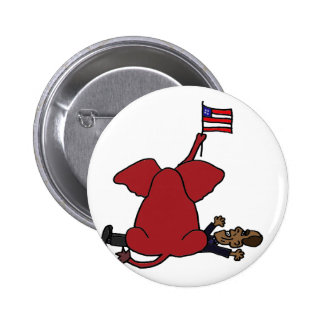 Funny Red Republican Elephant Sitting on Obama 6 Cm Round Badge