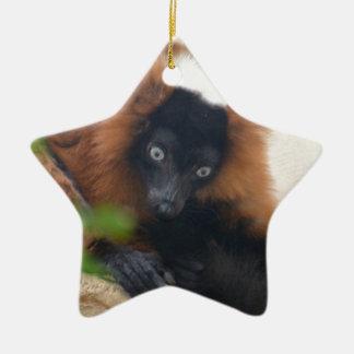 Funny Red Ruffed Lemur Christmas Ornament