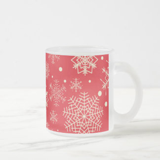 Funny Red Snowflakes Pattern Frosted Glass Coffee Mug