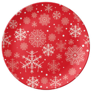 Funny Red Snowflakes Pattern Plate