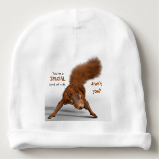 Funny Red Squirrel Photo | Special Kind of Nuts Baby Beanie