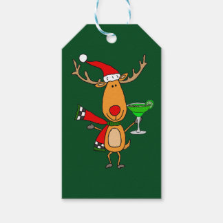 Funny Reindeer Drinking Margarita Christmas Art Gift Tags