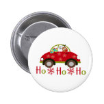 Funny Reindeer in car Christmas HO HO HO Button